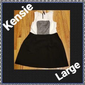 Kensie Black & White Sleeveless Dress Sz Large